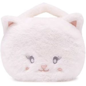 🌸Plush Cat Face Makeup Jewelry Train Case Bag